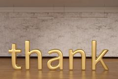 Thank sign letters on wooden floor. 3D illustration. Thank sign letters on wooden floor. 3D illustration stock illustration