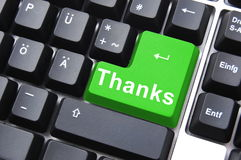 Thank you. Thanks written on computer button to say thank you royalty free stock photo