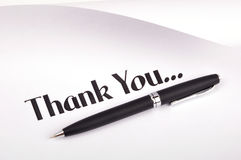 Thank you. Pen on white - showing thank you text royalty free stock photos