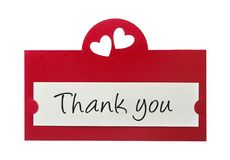 Thank you. Card isolated on white background Stock Photos