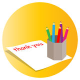 Thank you. Illustrations of thank you not written with colorful background Stock Images