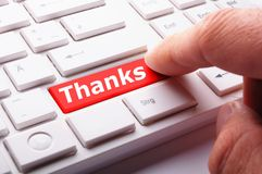 Thank you. Or thanks concept with key on keyboard royalty free stock photography