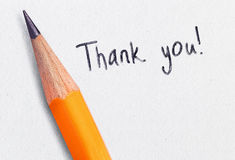 Thank you. Handwrite and pen royalty free stock photo