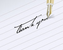 Thank You!. Fountain pen inscription Thank You Stock Photo