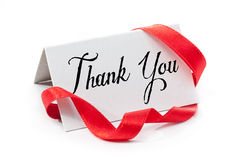 Thank you. Handwritten label, isolated in white Stock Images