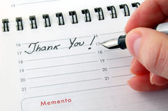 Thank You!. Thank You - Written on an Agenda Royalty Free Stock Photography