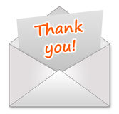 Thank you. Sending a special someone a thank you note royalty free illustration