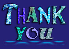 Thank you. A thank you message in blue patchwork patterns (message, card, banner, header, web Royalty Free Stock Image
