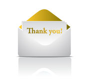 Thank you. Golden envelope design isolated over a white background Royalty Free Stock Photos