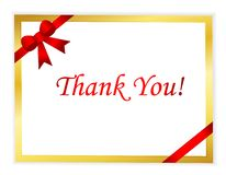 Thank you. Note with red ribbon bow isolated on white background Royalty Free Stock Images