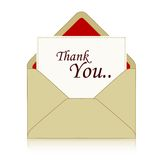 Thank you. Note coming out from a brown envelope illustration isolated on white background Royalty Free Stock Images