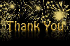 Thank You. The words thank you in gold with fireworks in the background with copy space stock illustration