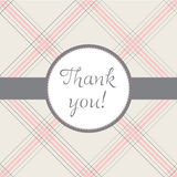 Thank you!. Thank you note with a plaid background and a grey ribbon Stock Photo