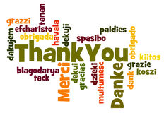 Thank You. Word Cloud in different languages royalty free stock photos