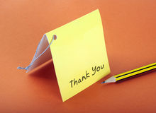 Thank you. Card with tag and pencil stock images