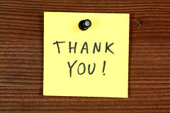 Thank you. Sticky note with thank you message - thankfulness and gratitude. Bulletin board Stock Photography