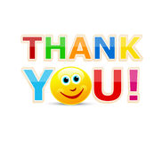 Thank you!. Thank you text with a happy smiley Royalty Free Stock Photography