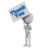 Thank you. Concept with a little 3d man holding a banner over white background, blue text Royalty Free Stock Photos