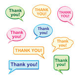 Thank you. Illustration of thank you bubbles collection Royalty Free Stock Images