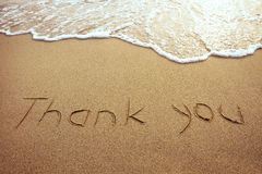 Thank you. Word drawn on the beach Royalty Free Stock Photos