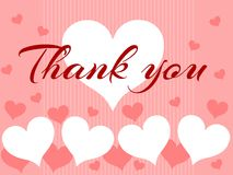 Background with words Thank you and hearts Stock Photos