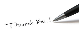 Thank you. Ballpen on white background. Showing Thank You stock photos