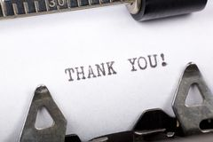 Thank you. Typewriter close up shot, concept of Thank you stock photos