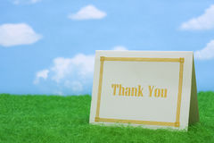 Thank You. Card on grass with copy space royalty free stock photos