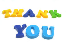 Thank you !. The words thank you spelled out in colourfull letters Stock Photos