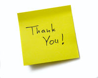 Thank You !. Sticky note. Isolated on white background Stock Photography