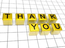Thank you. 3d golden boxes with thank you letter Stock Images