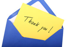 Thank you. Digital photo of a blue envelope with a letter with the words thank you royalty free stock images