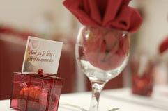 Thank you. A thank you gift at a wedding reception Royalty Free Stock Photos