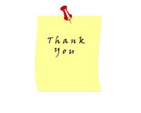 Thank you. In a yellow post it note illustration high resolution Stock Images