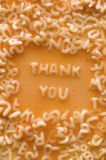 Thank you. Text made of pasta letters, ketchup tomato soup Royalty Free Stock Photos
