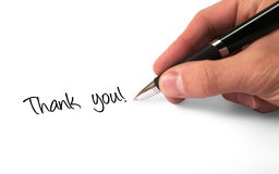 Thank you. Fountain pen writing thank you stock photo