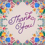 Thank You Abstract Floral Background  Callygraphy. THANK YOU hand lettering -- handmade calligraphy Royalty Free Stock Photo