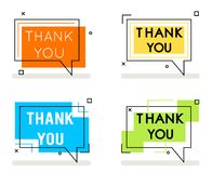 Thank you abstract line art banner card element set isolated flat design concept vector illustration. Thank you abstract line art banner card set element vector illustration