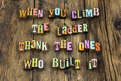 Thank you appreciation ladder success typography. Thank you appreciation ladder success letterpress typography thanks climb recognition successful positive stock photo