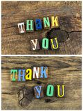 Thank you appreciation phrase. Thank you greeting thanks appreciation love gratitude thankful expression letterpress wood block type letters words collage Royalty Free Stock Photo