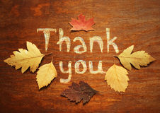 Thank you. And autumn leaves on wood board Royalty Free Stock Images