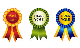 Thank you award ribbon rosette Stock Photo