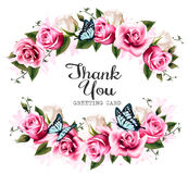 Thank You background with beautiful roses and butterflies. Stock Photos