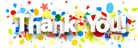 Thank you background with confetti. Thank you paper background with colorful confetti. Vector illustration royalty free illustration