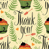 Thank you background with cupcake and calligraphy Stock Photos