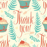 Thank you background with cupcake, calligraphy and Royalty Free Stock Images