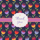 Thank You background with decorative flowers Royalty Free Stock Image