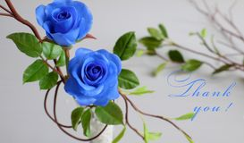 Thank you background. With grateful message, two blue roses with green leaf from clay art on white background, card for teacher day, mother day or woman day Royalty Free Stock Photo