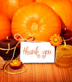 Thank you background, thanksgiving greeting card. Thank you orange background, thanksgiving greeting card with pumpkin decorations and warm candle light, holiday Stock Photography
