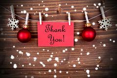 Thank You Background. In Winter or Christmas Style, with Snowflakes and Christmas Decoration Royalty Free Stock Photos